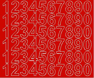 Cyfry samoprzylepne 3 cm czerwone matowy