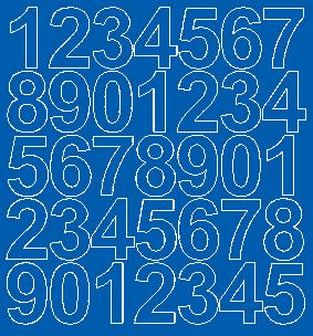 Cyfry samoprzylepne 4 cm niebieski z połyskiem