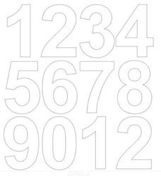 Cyfry samoprzylepne 7 cm białe z połyskiem