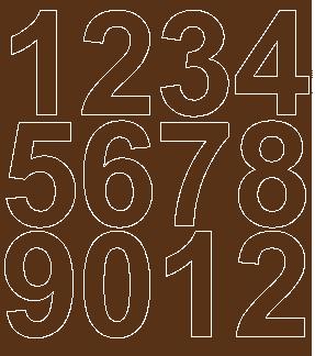 Cyfry samoprzylepne 7 cm brązowy z połyskiem