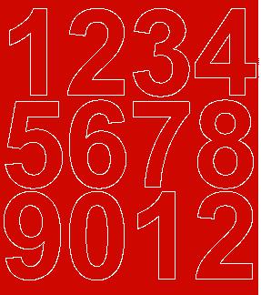 Cyfry samoprzylepne 7 cm czerwone matowy