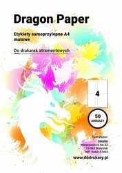 ETYKIETY A4 SAMOPRZYLEPNE 4 SZTUKI MATOWE 50 ARK