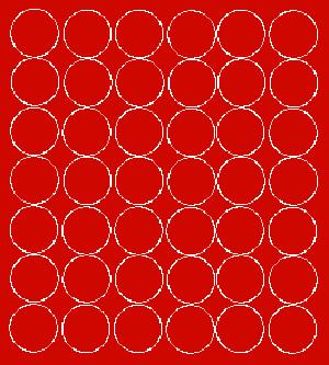Koła grochy samoprzylepne 3 cm czerwone z połyskiem 42 szt