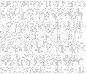 Litery samoprzylepne 1.5 cm białe z połyskiem