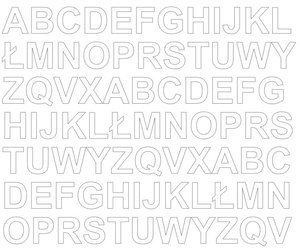 Litery samoprzylepne 2 cm białe z połyskiem