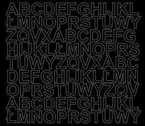 Litery samoprzylepne 2 cm czarne z połyskiem