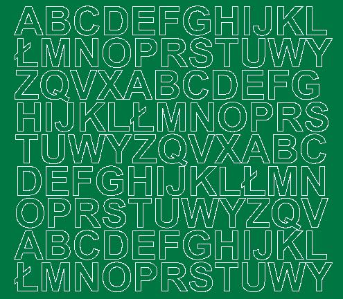 Litery samoprzylepne 2 cm zielone z połyskiem
