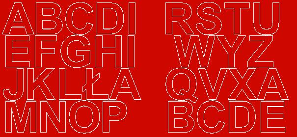 Litery samoprzylepne 5 cm czerwone z połyskiem