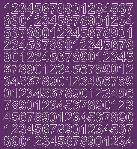 Cyfry samoprzylepne 1.5 cm fioletowy z połyskiem