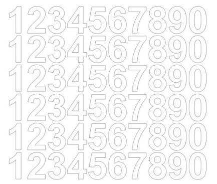 Cyfry samoprzylepne 3 cm biały matowy