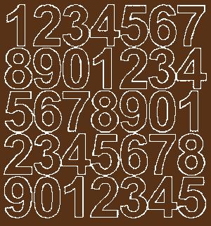 Cyfry samoprzylepne 4 cm brązowy z połyskiem