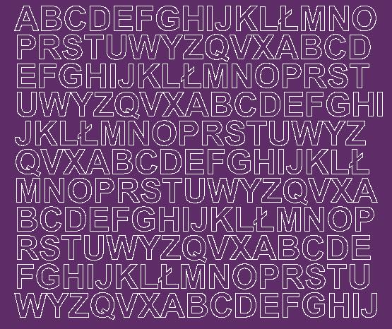 Litery samoprzylepne 1.5 cm fioletowy z połyskiem