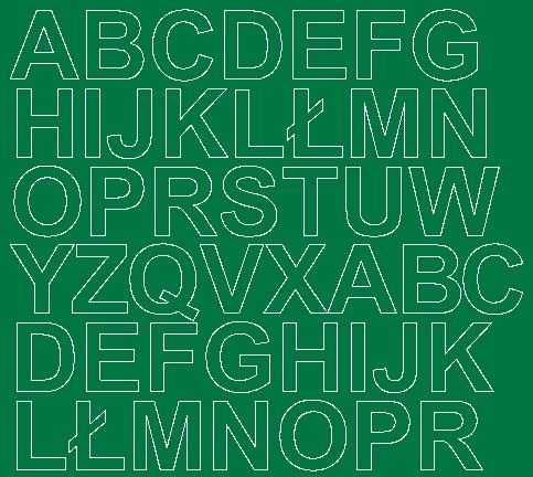 Litery samoprzylepne 3 cm zielone z połyskiem